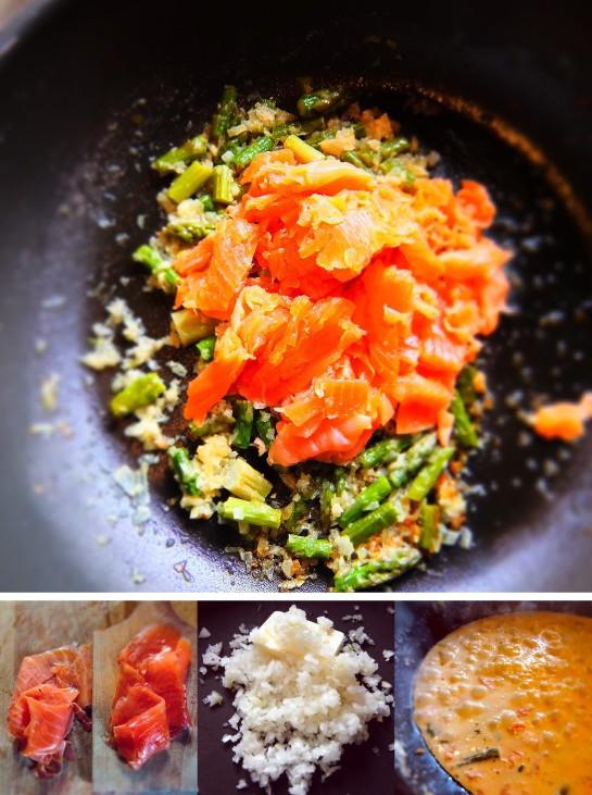 Pennette salmone e asparagi